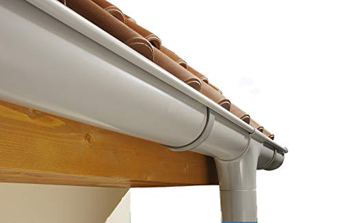Marley Dachrinnen Set Duplexrinne Rg 70 für eine Dachseite bis 8m grau mit Fallrohr Dachrinne Rinnensatz Regenrinne