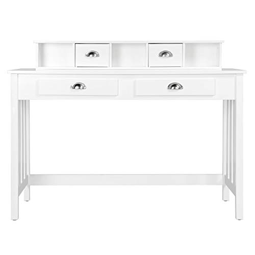 Topeakmart Wood Writing/Study Desk for Children Home Office Computer PC Table with 4 Storage Drawers...