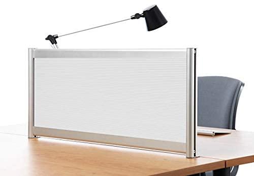 Mampara separador para escritorio, policarbonato acanalado traslúcido 40x120 cm.