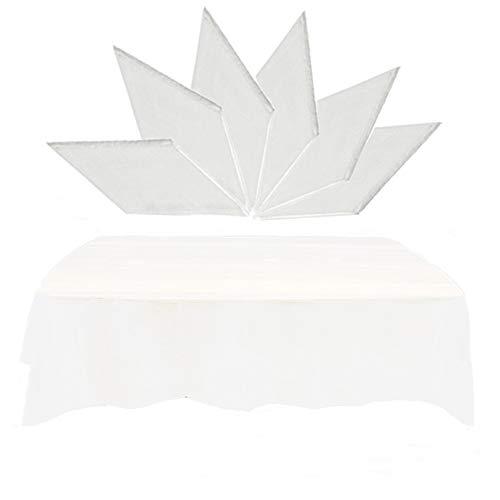 Sweieoni Einweg Kunststoff Tischdecke 6 Stücke Einweg Halbtransparent Partytischdecken Gartentisch wasserdichte Fettdichte Tischdecke für Catering Partys Picknick Geburtstage Hochzeiten Weiß