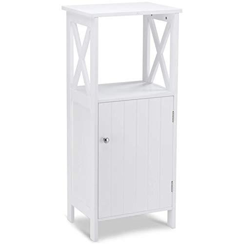 Lwieui Mueble de baño Gabinete de Estante de Toalla de Almacenamiento de una Sola Puerta de baño con 3 Niveles de Altura Ajustable, Adecuado para gabinetes de baño Blanco Gabinetes de Piso