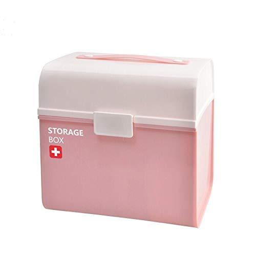 NYDZDM Medische Box Plastic Eerste Hulp Kit, Sundries Opbergdoos Roze Kasten Pill Box - 21x25x24cm