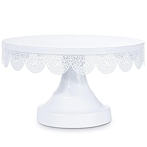 Optyuwah - Plato para tartas con pie (25 cm de diámetro), color blanco