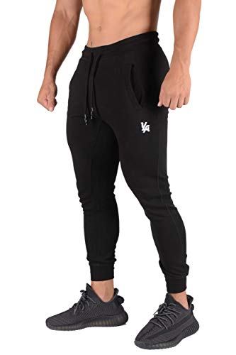 YoungLA Mens Joggers Slim Fit   Gym Pants Tapered   Workout Skinny Sweatpants   Training Fitness 222 BK XL Black