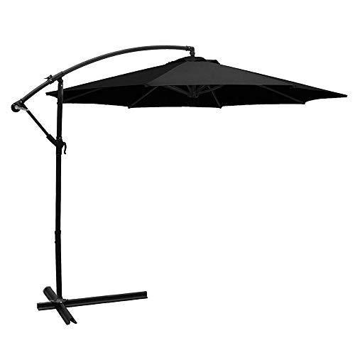 BELLEZE Patio Umbrella 10 Ft Offset Cantilever Umbrella Outdoor Market Hanging Umbrellas and Crank w. Cross Base, Black