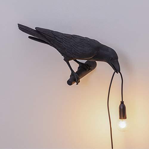 Lampe De Table LED Oiseau Lumière Italienne Seletti, Lampe Murale Créative Moderne Oiseau LED Chambre Chevet Luminaires Applique Murale en Résine USB,Noir,Wall Left