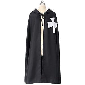 マント フード付きのマントハロウィンコスプレ衣装メンズ・レディース・マント中世のコスチュームのフード付きの黒のロングコートケープポンチョ (Color : Black, Size : One size)