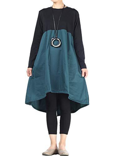 Vogstyle Damen Langarm A-Linie Beiläufige Lose mit Tasche T-Shirt-Kleid Art 3-Blau XXL