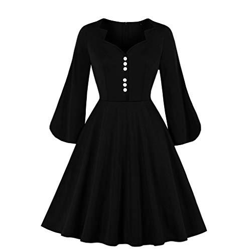 DQANIU Damen Kleid, Damen Dreiviertel Ärmel V-Ausschnitt Volltonfarbe Knopf Hohe Taille Puffärmel...