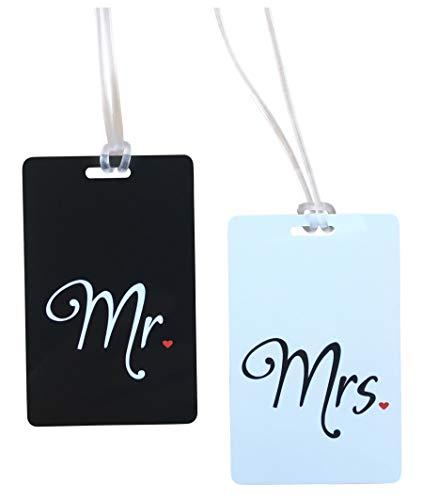 Etiqueta Mr & Mrs - Etiqueta Luna de Miel - Honeymoon Etiqueta para Equipaje - Identificador para Maleta con Campo de Dirección- Regalo de boda, Despedida de Soltero, Bridal Shower- 2 pc.-NEGRO BLANCO