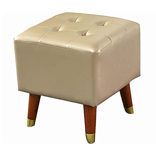 SMTAO Solid Wood Footrest Small Stool, Modern Square Seat Chair Footstool With Legs, Faux Leather Poufs For Living Room Bedroom Home,Champagne,36 * 36 * 40Cm