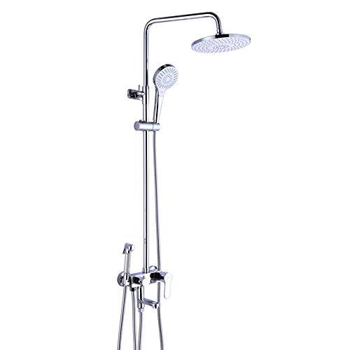 DLYZM Duschsystem mit Thermostat,38 °C Sicherheitssperre Duscharmatur Überkopf- und Handbrause Duschkopf Duschsäule aus Edelstahl Brausethermostat Verstellbar