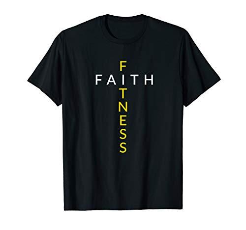 Faith Fitness Cross, Christian Workout, Modern Gym T-Shirt
