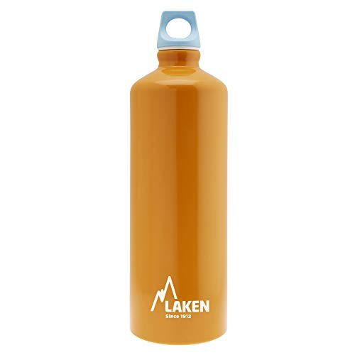 Laken Futura Borraccia di Alluminio, Bottiglia d'acqua con Apertura Stretta e Tappo a Vite con Anello 1L Arancione + Blu Tappo