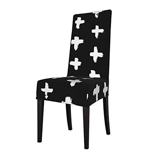 Fundas para sillas Bold Reverse Blanco y Negro Patrón Swiss Cross Strech Fundas para sillas Fundas para sillas Fundas para sillas elásticas para sillas