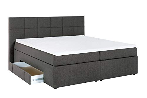Furniture for Friends Möbelfreude® Boxspringbett Andybur mit Bettkasten Anthrazit 180x200 cm H3 inkl. Visco-Topper, 7-Zonen Taschenfederkern-Matratze