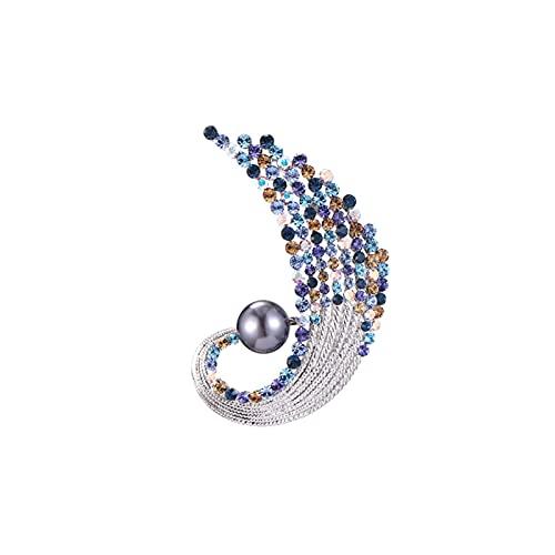 Broche para Damas Delicadas broches de Perlas Cristal Broche de Solapa para Chaqueta Vestido de Bufanda o chales Novia Decoración Brooch (Color : A)