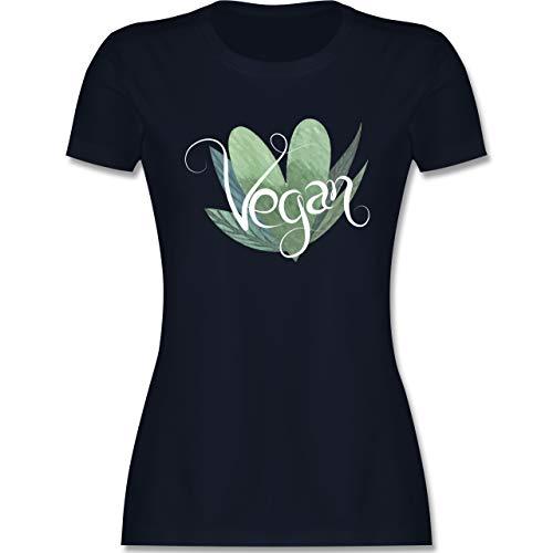 Statement - Vegan Lettering - XXL - Navy Blau - t Shirt mit Print Damen - L191 - Tailliertes Tshirt für Damen und Frauen T-Shirt