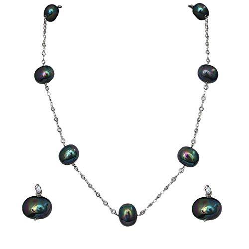 JewelryGift Collar tradicional de piedra semipreciosa con cuentas de cadena de moda para mujeres y niñas
