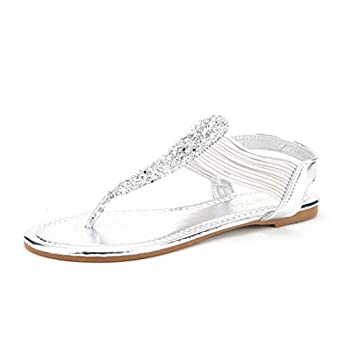 DREAM PAIRS Spparkly Women s Elastic Strappy String Thong Ankle Strap Summer Gladiator Sandals Silver Size 8