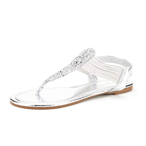 DREAM PAIRS Spparkly Women's Elastic Strappy String Thong Ankle Strap Summer Gladiator Sandals Silver Size 7
