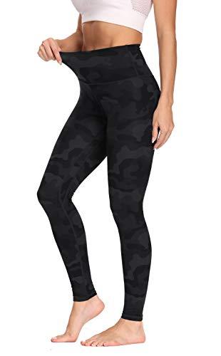 Olacia High Waist Sport Leggings Damen Camo Sporthose Fitness Yogahose mit Bauchkontrolle, Dunkelgraue Tarnung, XL