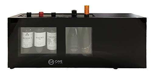 Cavevinum CV-5C-2T Expositor de Barra 5 Botellas con Compresor doble temperatura para vinos blancos y tintos, Acero