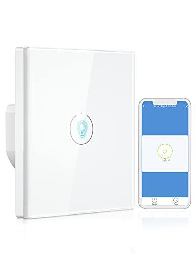 Interruptor Luz WiFi, Besvic Interruptor Tactil Inteligente de Luz Pared, Compatible con Google Home & Alexa Echo/Dot/Tap, Control APP & Vocal, Función de Temporizador (2,4GHz, Neutral Requerido)