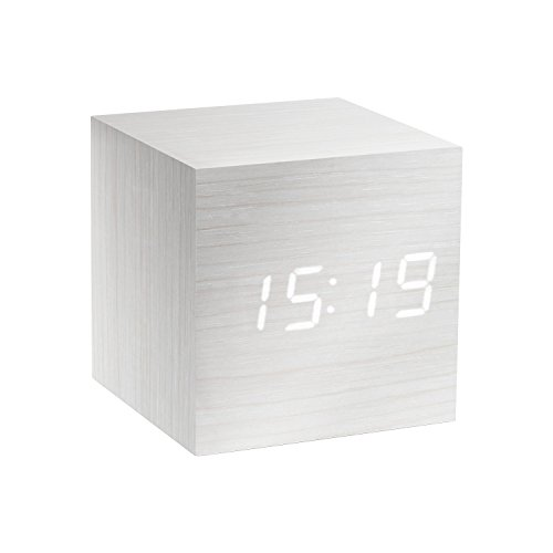 Gingko Cube Click Uhr, 6,4 x 6,4 cm Weiß/weiße LEDs.
