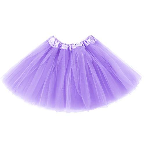 belababy Girl Tutu Skirt, 3 Layered Fluffy Tutus, Ballet Dance Dress Up for 2-8 Years Children Light Purple