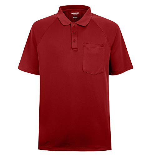 Men's High Moisture Wicking Solid Polo T-Shirts, Red, 4XL