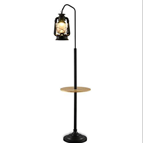 Lámpara de pie vintage de latón antiguo de Fisherman con pantallas de jaula de metal negro Interruptor de botón de paso para el hogar interior Loft Sala de estar Dormitorio Lámpara de pie industrial