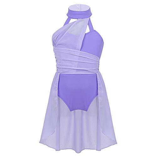 Alvivi Enfant Fille Robe Danse Ballet Justaucorps Danse Gymnastique Leotard Robe Patinage Sport Yoga Costume Contemporaine Danse Performance 5-14 Ans Lavende 13-14 Ans