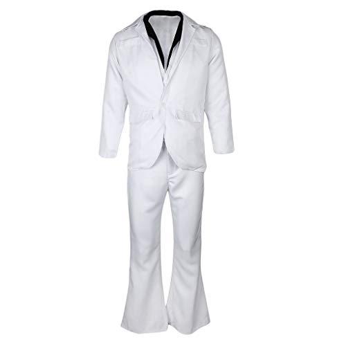 joyMerit Disfraz de Traje Blanco de Saturday Fever para Hombre Retro 60s 70s Hippie Disc - Metro