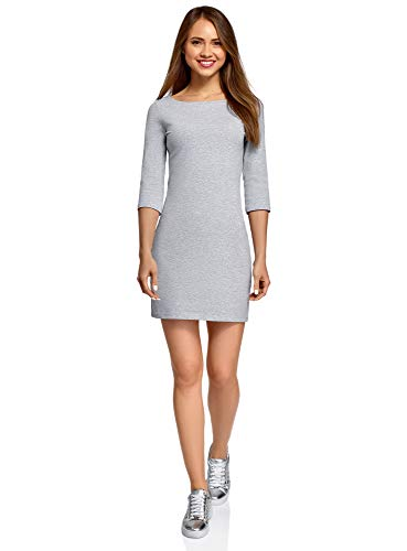 oodji Ultra Damen Baumwoll-Kleid Basic, Grau, DE 32 / EU 34 / XXS