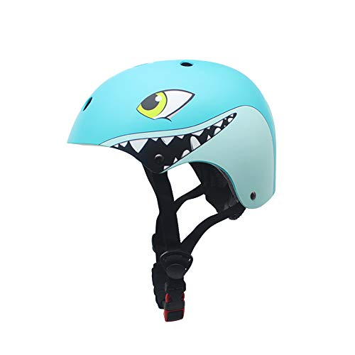 Skaterhelm Fahrradhelm für 2 bis 5 Jahre Jungen und Mädchen | Leicht Mikroschalen Kinderhelm für Laufrad Skateboard Motorrad Sport (Blau Hai)
