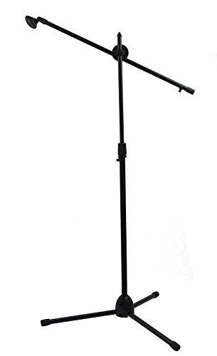 Pie de micrófono Feibrand con 1 pinza para micrófono, color negro