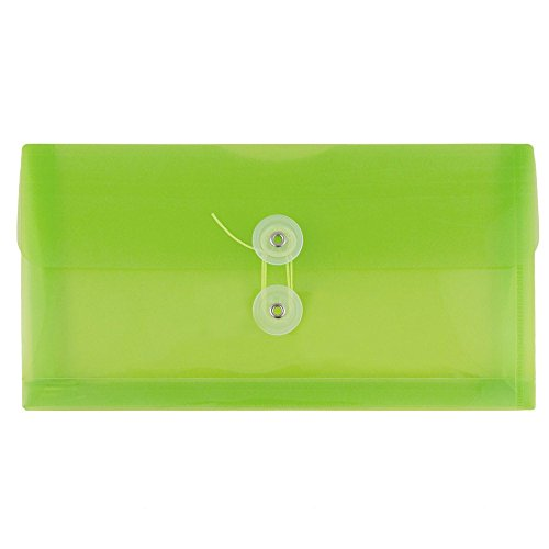 JAM PAPER Plastic Envelopes with Button & String Tie Closure - #10 Business Booklet - 5 1/4 x 10 - Lime Green - 12/Pack