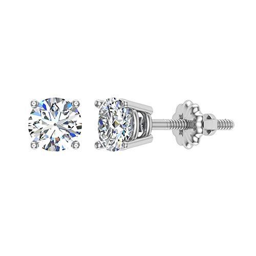 Diamond Stud Earrings for women-girls-teens-kids 14K White Gold 1/10 ct t.w. Gift box Authenticity Cards (G, VS)