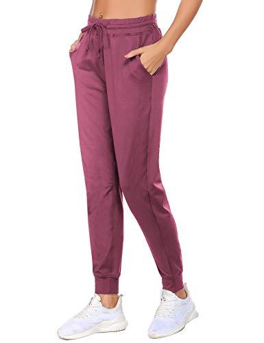 Balancora Damen Sweatpants Weich Jogginghose Rot Freizeithose für Frauen Kurzgröße 50 Rosa XXL
