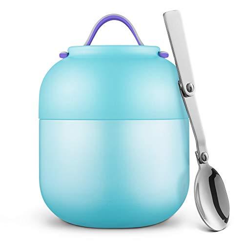 Contenitore Termico per Alimenti Thermos in Acciaio Inossidabile a Tenuta Stagna con Cucchiaio Pieghevole Contenitore per Alimenti 500 ml (Blu)