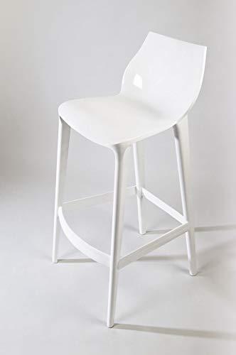 Mahi Mahi Sgabello Cucina Design h.66 cm - Set 4 Pezzi - in policarbonato Colore Bianco Puro - MMBC001