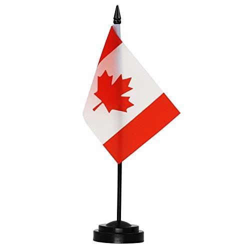 Anley Canada Deluxe - Juego de Banderas de Escritorio - Bandera de Escritorio Canadiense en Miniatura de 6 x 4 Pulgadas con Poste sólido de 12'- Colores Vivos y Resistente a la decoloración