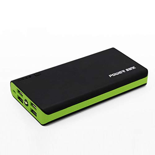 Morninganswer Carcasa de Banco de energía con Linterna LED 4 Puertos USB 5V 2A Carcasa de Cargador de Banco de energía Kits de Bricolaje alimentados por 6X 18650 baterías Verde