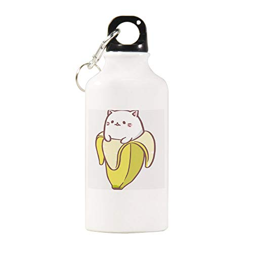 VINMEA Funny Stainless Steel Sports Water Bottle Bananya Banana Cat Insulated Sports Water Bottle with Carabiner Clip, 14 Oz, White