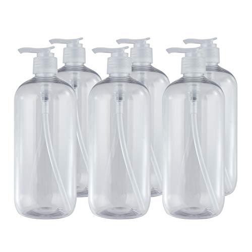 Bote dispensador de Gel rellenable 500 ml. Frasco dosificador hermético de plástico Pet Transparente para jabón, champú, lociones, hidroalcohol. (6 Unidades).