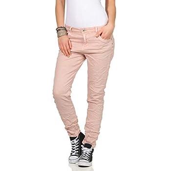 KAROSTAR trendy Damenjeans im Boyfriends Style Rosa