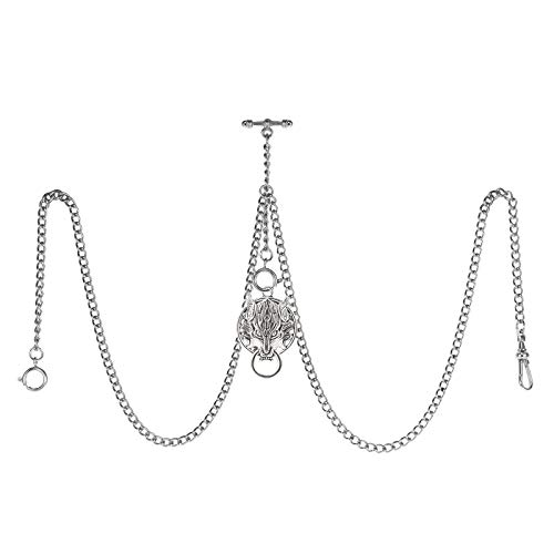 TREEWETO Reloj de bolsillo doble Albert con cadena de eslabones para hombre, 3 ganchos con colgante de plata envejecida, diseño de lobo