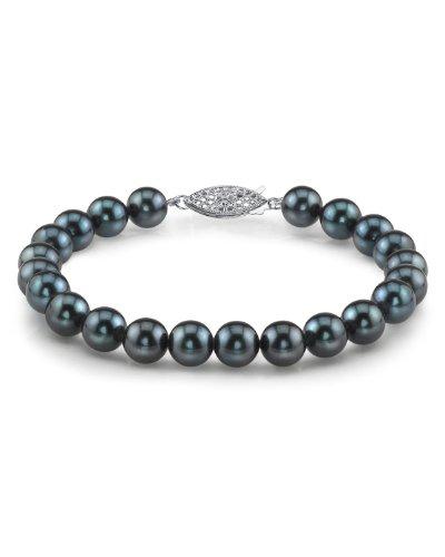 Pulsera de perlas Akoya japonesa - negro 6, 5-7, 0 millimeter oro blanco cierre