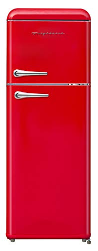 FRIGIDAIRE EFR756-RED EFR756, 2 Door Apartment Size RETRO Refrigerator with Top Freezer, Chrome...